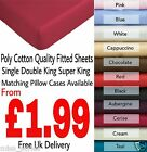 Plain Dyed Polycotton Fitted Bed Sheet Single Double King Super King Pillow Case