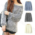 Womens Trendy Mohair Crewneck Loose Warm Soft Sweater Pullover Tops W7225 WWU