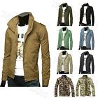 British Style Men's Classic Retro Stand Collar Casual Coats Jacket WWU