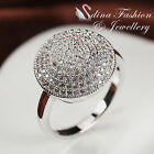 18K White Gold Plated Simulated Diamond Studded Cluster Promise Engagement Ring