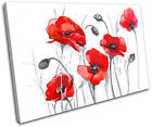 Poppies Flowers Floral SINGLE CANVAS WALL ART Picture Print VA