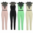 WOMENS SLEEVELESS CROCHET LACE NECK PLAYSUIT FULL LENGTH JUMPSUIT 8 10 12 14 uk