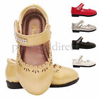 Girls kids Infant Children Velcro Wedding Bridesmaid Diamante Party Shoes Sz 3-7