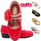 Girls kids Children Diamante Velcro wedding Bridesmaid Casual Party Shoes Sz 7-3