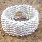 925 Sterling Silver 925 Stamp Hallmarked Mesh Band Ring Jewelry, ALL Size 3 - 11