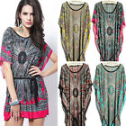 Women Plus Size Summer Bohemian Vintage Casual Dresses Bat sleeve Ice Silk Dress
