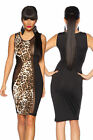 SEXY ABITO NERO LEOPARDATO SENZA MANICHE TRASPARENTE LEOPARD PARTY DRESS T.UNICA
