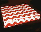 ae329t Red Off White Thick ZigZag Chevon Cotton Canvas 3D Box Seat Cushion Cover