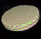 ae324r Lime Green ZigZag Chevon Cotton Canvas 3D Round Seat Cushion Cover Pillow