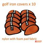 Golf Iron Club Covers Nylon Foam Pad x 10pcs Cart Bag Ping Titleist Mizuno