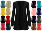 Womens Slouch Drop Pocket Long Sleeves Open Casual Top Boyfriend Cardigan 8-18