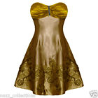 GOLD SATIN CORNELLI ROSE & SEQUIN DESIGN COCKTAIL DRESS SZ 8-14