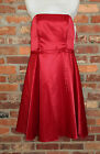 Women's Fiesta Red Strapless Knee Length Prom Bridesmaid Formal Dress USA  L XL