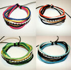Leather & Waxed Cotton Surfer Wristband Mens Womens Friendship Bracelet FREEPOST