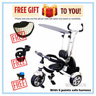 Wellsun 4-in-1 Children Tricycle Baby Kid Trike 3 Wheel Bike with Harness
