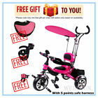 Wellsun 4-in-1 Children Tricycle Baby Kid Trike 3 Wheel Bike with Harness_Red