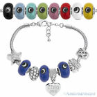 Evil Eye Turkish Nazar Greek Bead European Charm Beaded Bracelet - Solid Colors