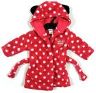 Ex M & S Girls Pink Minnie Mouse Hooded Spotted Soft Fluffy Dressing Gown NEW!