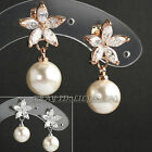B1-E868 Fashion Flower Pearl Dangle Earrings 18K GP Use Swarovski Crystal