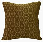 we62a Brown Olive Damask Check Chenille Throw Pillow Case/Cushion Cover*Cust Siz
