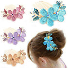 WOMEN LADY CRYSTAL FLOWER HAIR COMB SHINY RHINESTONE BARRETTE HAIRPIN CLIP BG2K