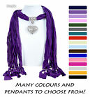 Woman's Ladies Beautiful Cotton Scarf with Accessory, Jewellery, Necklace Beads