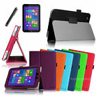 For Toshiba Encore WT8 Windows 8.1 Tablet Folio Leather Case Cover +Film +Stylus