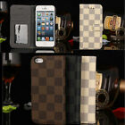Hot New Luxury Leather Case Wallet Flip Cover for iPhone 5 5s Checker Plaid Men