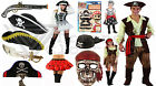Kids Mens Womens Pirate Fancy Dress Swords Guns Hats Beard Costume Skull Mask