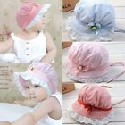 New Cute Baby Girls Sun Caps Stripes Flower Lace Cotton Summer Hats 3-24 Months