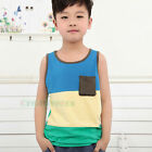 Fashion Kids Toddlers Boys Stitching Color Sleeveless 100% Cotton Tops T-Shirt