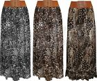 Ladies Womens Leopard Print Chiffon Maxi Skirt Belted Stretch Size 8 10 12 14