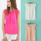 Women Leisure Floral Lace Chiffon Hollow Splice Sleeveless Tops Blouse 6 Colors