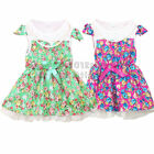 Floral Pearls Tutu Bow Kids Baby Girls Beach Summer Party Pageant Dresses 1-4Yrs