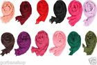 Ladies Womens Long Cotton Linen Scarf Crinkle Neck Wrap Warmer Shawl
