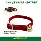 Leather Cat Collar/Collars with BELL Quick release Safety elastic