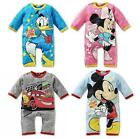 Cute Baby Boy Girls Pajama Disney Micky Cars romper spring pink blue long sleeve