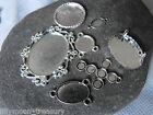 silver plated CABOCHON SETTINGS bezel cup cross Y connector 30x20