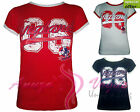 NEW GIRLS SPORTS CASUAL  ENGLAND ROUND NECK SHORT SLEEVE  T-SHIRT TOP S/M/L