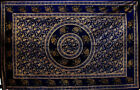 D/ Blue DOUBLE GOLDEN ELEPHANT Mandala THROW Sofa BEDSPREAD Wall hanging INDIAN