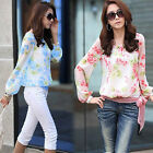 New Ladies Womens Chiffon T Shirt Floral Print Long Sleeve Blouse Casual Tops