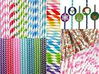 50 Stripe Polka Dot Hearts Retro Vintage Party Drinking Straws Birthday Wedding