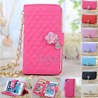 Metal Pearl Chain Bling Flower Women Leather Handbag Wallet Case For iPhone 5 5S