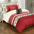 Chelsea Red 5pc Duvet Cover Set Embroidered with Pillows and Pillow Shams