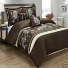 Myra Brown 5pc Duvet Cover Set Embroidered with Pillows and Pillow Shams