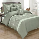 Myra Grey 5pc Duvet Cover Set Embroidered with Pillows and Pillow Shams
