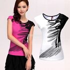 Casual Women's Round Neck Short Sleeve Cotton Ink Feather Print Top T-Shirt