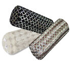 Ms-Silver Sequin Checked Embroidered Velvet Neck Roll CASE Tube Bolster COVER