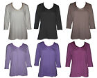 NEW Women Ladies 3/4 Sleeve Cotton Casual V-neck Tops 6 colour size S-XL