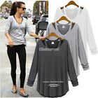 New Tops Women Lady cotton Off Shoulder Long Sleeve Casual Loose Blouse